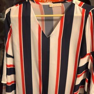 Bell sleeve silk blouse